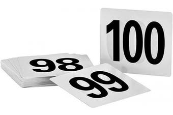 (Numbers 50 to 100) - Alpine Industries Double-Sided Plastic Table Numbers - 10cm x 10cm Heavy Duty Number Cards - Perfect for Restaurants, Establishments & Special Events or Functions (Numbers 50 to 100)