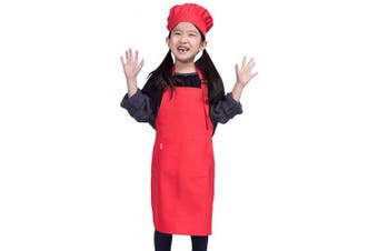 (S 2-5 Year, Red) - ALIPOBO Kids Apron and Chef Hat Set, Children's Adjustable Bib Apron with 2 Pockets. Cute Boys Girls Kitchen Apron for Cooking, Baking, Painting, Training Wear (2-5 Year, Red)