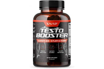 (60 Capsules) - Snap Supplements Men's Testo Booster - Improves Performance Blood Flow, Promotes Muscle Fast, Optimises Natural Stamina, Energy, Endurance and Strength - 60 Capsules