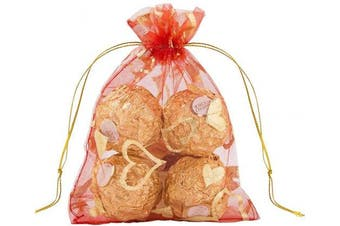 (Heart Red) - Outdoorfly 50PCS Organza Gift Bags Drawstring,10cm x 15cm Jewellery Pouches Drawstring Bags,Heart Printed Mesh Bags,Wedding Party Christmas Favour Baby Shower Bags,Candy Chocolate Sample Bags(Red Heart)