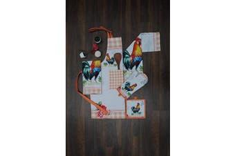 (Complete Kitchen Set) - Amour Infini Kitchen Linen Set Unique Rooster Design | 100% Natural Cotton| Set of Apron, Oven Mitt, Pot Holder, Kitchen Towels | Eco - Friendly & Safe