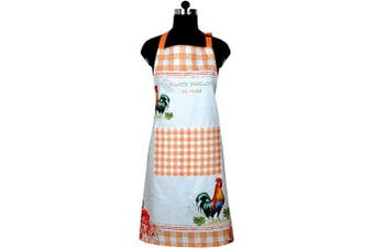 (Apron) - Amour Infini Rooster Design Apron | 70cm x 80cm | 100% Natural Cotton | Durable Women's Apron for Cooking, Gardening and Craft Use | Convenient Pockets and Adjustable Strap at Neck & Waist Ties