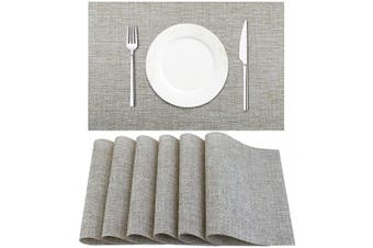 (6pc, Beige White) - DACHUI Placemat, Crossweave Woven Vinyl Non-Slip Insulation Placemat Washable Table Mats Set of 6 (Beige White)