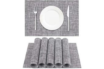 (6pc, Light Grey) - DACHUI Placemat, Crossweave Woven Vinyl Non-Slip Insulation Placemat Washable Table Mats Set of 6 (Grey)