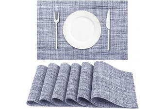 (6pc, Blue White) - DACHUI Placemat, Crossweave Woven Vinyl Non-Slip Insulation Placemat Washable Table Mats Set of 6 (Blue White)