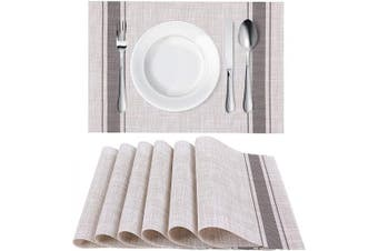 (6, Stripe Grey) - Homaxy Placemats for Dining Table Set of 6 - Washable Vinyl Woven Insulation Heat Resistant Kitchen Table Mats, 46cm x 30cm , Stripe Grey