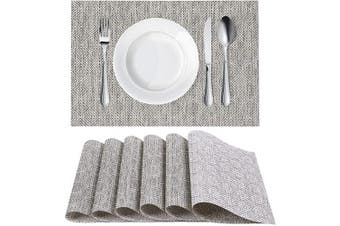 (6, Cool Grey) - Homaxy Placemats for Dining Table Set of 6 - Washable Vinyl Woven Insulation Heat Resistant Kitchen Table Mats, 46cm x 30cm , Cool Grey