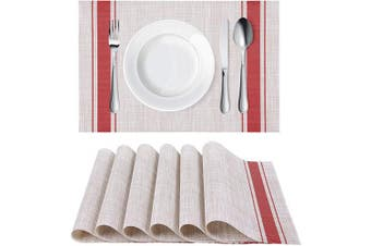 (6, Stripe Red) - Homaxy Placemats for Dining Table Set of 6 - Washable Vinyl Woven Insulation Heat Resistant Kitchen Table Mats, 46cm x 30cm , Stripe Red