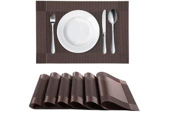(6, Brown) - Homaxy Placemats for Dining Table Set of 6 - Washable Vinyl Woven Insulation Heat Resistant Kitchen Table Mats, 46cm x 30cm , Brown