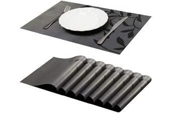 Jujin Placemats Set of 8 Non-Slip Washable PVC Heat Resistant Table Mats for Dining Table Black