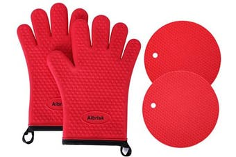(Red) - Aibrisk Silicone Oven Mitts and Pot Holders,4PCS Thicken Heat Resistant Flexible Non-Slip Surface Cooking Gloves and Potholders Trivet Mats for Safe Oven BBQ Kitchen Counter Hot Dishes or Pans(Red)