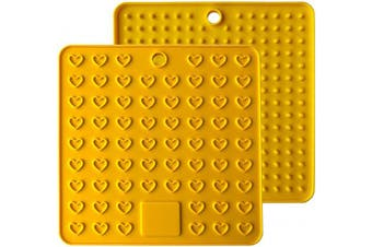 (18cm , Yellow) - AINAAN 2 Pcs Square Premium Silicone Pot Holder,Trivets, Mitts,Heat Resistant Hot Pads, 18cm , Yellow