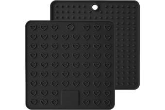 (18cm , Black) - AINAAN 2 Pcs Square Premium Silicone Pot Holder,Trivets, Mitts,Heat Resistant Hot Pads, 18cm , Black