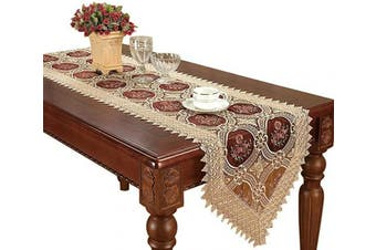 (16*90cm ) - Simhomsen Small Vintage Burgundy Lace Doily Table Runners and Dresser Scarf 16 × 90cm