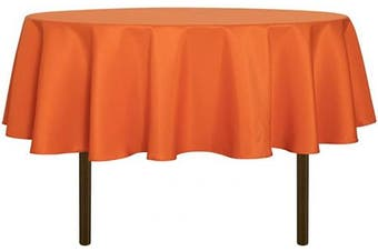 (180cm , Orange) - sancua Round Tablecloth - 180cm - Water Resistant Spill Proof Washable Polyester Table Cloth Decorative Fabric Table Cover for Dining Table, Buffet Parties and Camping, Orange