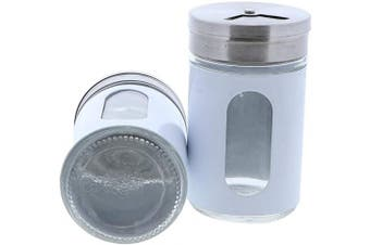 (White) - White Salt Pepper Shakers Retro Spice Jars Glass - Set of 2