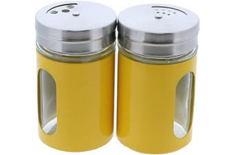 (Yellow) - Yellow Salt Pepper Shakers Retro Spice Jars Glass - Set of 2
