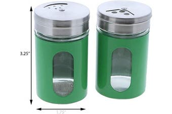 (Green) - Green Salt Pepper Shakers Retro Spice Jars Glass - Set of 2