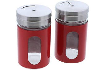 (Red) - Red Salt Pepper Shakers Retro Spice Jars Glass - Set of 2