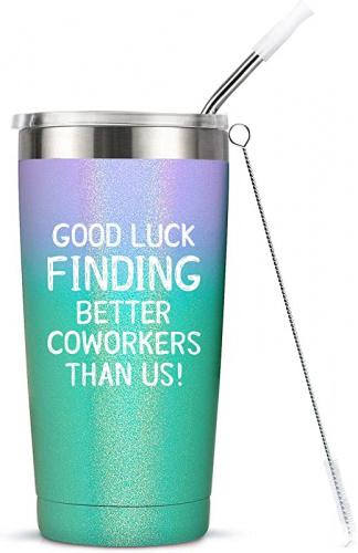 """(Glitter Mermaid) - Going Away Gifts for Coworker Women Goodbye, Farewell, Leaving, New Job Promotion Gifts for Colleague Boss Co-worker Friends - Good Luck Finding Better Coworkers Than Us Tumbler Cup Mug, 590ml Colour: Glitter Mermaid UNIQUE GIFT IDEAS FOR ANY LEAVING COWORKERS: MASGALACC Insulated mug tumbler is the perfect goodbye gifts for female colleagues! This 590ml double wall insulated stainless steel tumbler has the fun saying, """"GOOD LUCK FINDING BETTER COWORKERS THAN US!""""printed on front. Also, the tumbler cup has coated finish that protects against scratches and at the same time providing good grip for holding the tumbler too. The cup measures 17cm high and has a lip diameter of 8.9cm . The lid and straw muzzle are BPA Free. It is recommended to hand wash this item."""