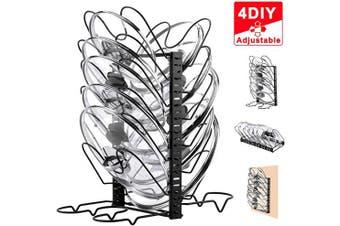 X-cosrack Pot Lid Organiser Rack for Kitchen Cabinet Door Wall Mount with 12 Dividers Adjustable Heights,4 Methods,Black