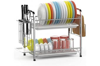 (2 Tier Silver) - Dish Drying Rack, GSlife 2 Tier 304 Stainless Steel Dish Rack with Utensil Holder, Cutting Board Holder and Dish Drainer for Kitchen Counter, Silver