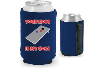 (1, Navy) - Your Hole Is My Goal Magnetic Neoprene Collapsible Can Coolie (Navy, 1)