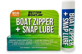 Zipper Lubricant and Zip Wax Marine Grade Lube Stick Apply with Ease Boat, Canvas, Bimini Snap, Coolers, Wetsuit and Drysuit   No Oil Mess