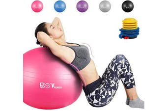 (55 CM, Pink) - BST POWER Exercise Ball, 45-85cm Extra Thick Yoga Ball Chair, Anti-Burst Heavy Duty Gym Ball Stability Ball Birthing Ball with Quick Pump