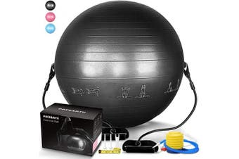 (Black Exercise Ball) - PACEARTH Exercise Ball for Home Gym Office Thick Yoga Ball Chair with Resistance Bands and Quick Pump Anti-Burst Heavy Duty Stability Fitness Balance Birthing Workout Ball for Pilates