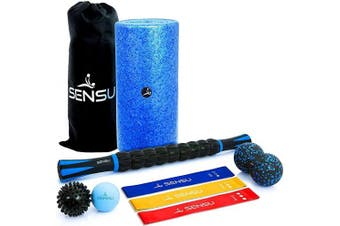 Sensu 9-in-1 Foam Roller Set – Muscle Rollers Set Includes Peanut Ball, 3 Resistance Bands, Massage Roller Stick, Spikey Ball, and Lacrosse Ball for Deep-Tissue Massage and Myofascial Relief