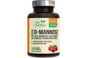 (180 Capsules) - D-Mannose Capsules with Cranberry Extra Strength UTI Support 1350mg - Natural Urinary Tract Support - Made in USA - Natural Fast-Acting Pills w/Dandelion & Hibiscus for Men & Women - 180 Capsules
