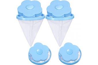 (Blue) - 4 Pieces Reusable Washing Machine Lint Catcher Household Washing Machine Lint Mesh Bag Hair Filter Net Pouch Washer Hair Catcher (Blue)