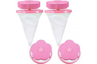 (Pink) - 4 Pieces Reusable Washing Machine Lint Catcher Household Washing Machine Lint Mesh Bag Hair Filter Net Pouch Washer Hair Catcher (Pink)