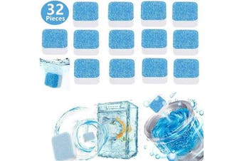 32 Pieces Solid Washing Machine Cleaner Effervescent Tablet Washer Cleaner Deep Cleaning Remover with Triple Decontamination for Bath Room Kitchen