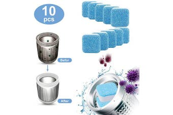 (10) - 10pcs Solid Washing Machine Cleaner Effervescent Tablet Washer Cleaner Deep Cleaning Remover with Triple Decontamination for Bath Room Kitchen