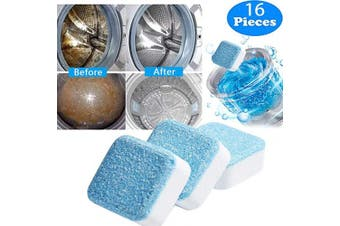 Solid Washing Machine Cleaner Effervescent Tablet Washer Cleaner Deep Cleaning Remover with Triple Decontamination for Bath Room Kitchen (16 PCS)