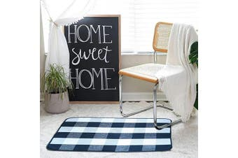 (60cm  x 90cm , Black and White 1) - Upgrade Buffalo Plaid Rug 0.6mx 0.9m Black and Off White Cotton, Hand-Woven Buffalo Cheque Door Mat, Washable Plaid Outdoor Rug Entryway/Front Porch/Kitchen/Laundry Room/Bathroom/Bedroom (60cm x 90cm )