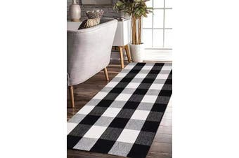 (60cm  x 130cm , Black and White) - EARTHALL Buffalo Plaid Rug Black and White Rug Cotton, Hand-Woven Buffalo Cheque Rug Runner, Hallway Runner, Washable Plaid Outdoor Rug Entryway/Front Porch/Kitchen/Bathroom/Bedroom (60cm x 130cm )