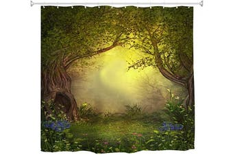 (180cm W x 180cm L, Multi 6) - BROSHAN Mystic Forest Tree Shower Curtain Fabric, Enchanted Forest Fantasy Nature Landscape with Flower Green Jungle Print Fabric Waterproof Bathroom Decor with Hooks, 180cm x 180cm