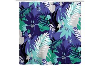 (180cm W x 180cm L, Multi 3) - BROSHAN Polyester Shower Curtain Set Leaf, Tropical Watercolour Leaves Art Print Bath Curtain Abstract Waterproof Fabric Bathroom Decor Set with Hooks, Blue and Green, 180cm Long