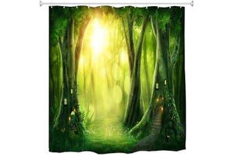 (180cm W x 180cm L, Multi 5) - BROSHAN Fantasy Bath Decor Shower Curtain, Spring Nature Mystic Tree House Mystic Forest Mystical Scene Bathroom Set, Green Fabric Waterproof Stall Shower Curtain with Hooks, 180cm Long
