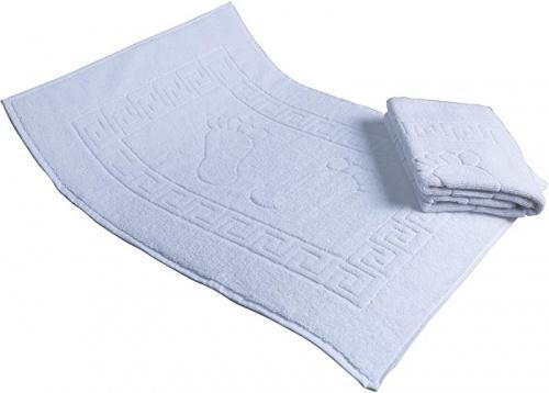 White Secret Sea Collection Set Of 2 Footprint Bath Mat Towel Foot Towel 100 Turkish Cotton Washable Reversible 50cm X 70cm White Matt Blatt