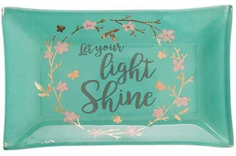 (Teal) - Christian Art Gifts Glass Rectangle Teal Ring Dish Jewellery Holder | Let Your Light Shine – Sparkle Collection | Gold Wreath w/Pink Flowers Inspirational Trinket Tray Dish for Jewellery and Accessories