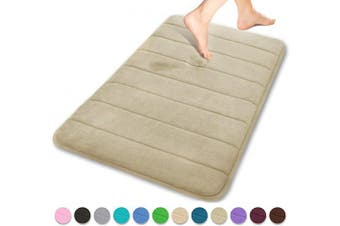 (80cm  x 50cm , Camel) - Yimobra Memory Foam Bath Mat Large Size 80cm by 50cm , Soft and Comfortable, Super Water Absorption, Non-Slip, Thick, Machine Wash, Easier to Dry for Bathroom Floor Rug, Camel