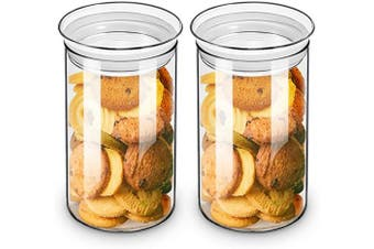 (2pcs-1090ml) - ZENS Glass Canister Jars with Glass Lid,Airtight Sealed Clear Medicine Storage Containers 37 Fluid Ounce Set of 2 for Loose Tea,Coffee Beans 1100ML