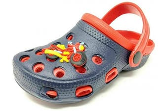 (8 UK Child, Navy Red) - Carcassi Childrens Kids Girls Boys Holiday Summer Beach Pool Clogs Sandals Shoes Size 6-2