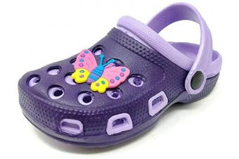 (8 UK Child, Purple) - Carcassi Childrens Kids Girls Boys Holiday Summer Beach Pool Clogs Sandals Shoes Size 6-2