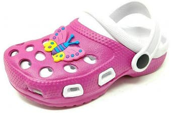 (11 UK Child, Pink White) - Carcassi Childrens Kids Girls Boys Holiday Summer Beach Pool Clogs Sandals Shoes Size 6-2