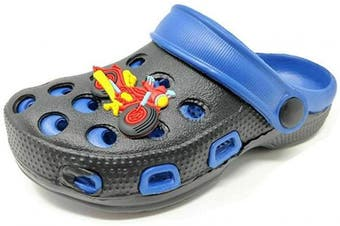 (7 UK Child, Black Blue) - Carcassi Childrens Kids Girls Boys Holiday Summer Beach Pool Clogs Sandals Shoes Size 6-2